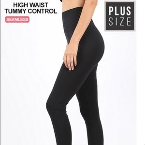 Plus Size Tummy Control Black Nylon Leggings